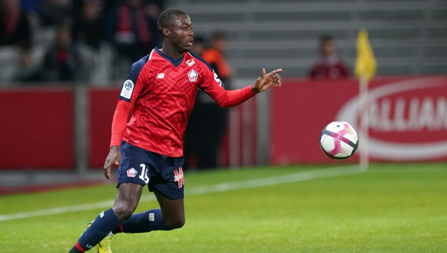 LILLE, FRANCE - DECEMBER 09:  Lille's Nicolas Pepe during Ligue 1 match between Lille OSC and Stade de Reims at Stade Pierre Mauroy on December 9, 2018 in Lille, France.  (Photo by Sylvain Lefevre/Getty Images)
