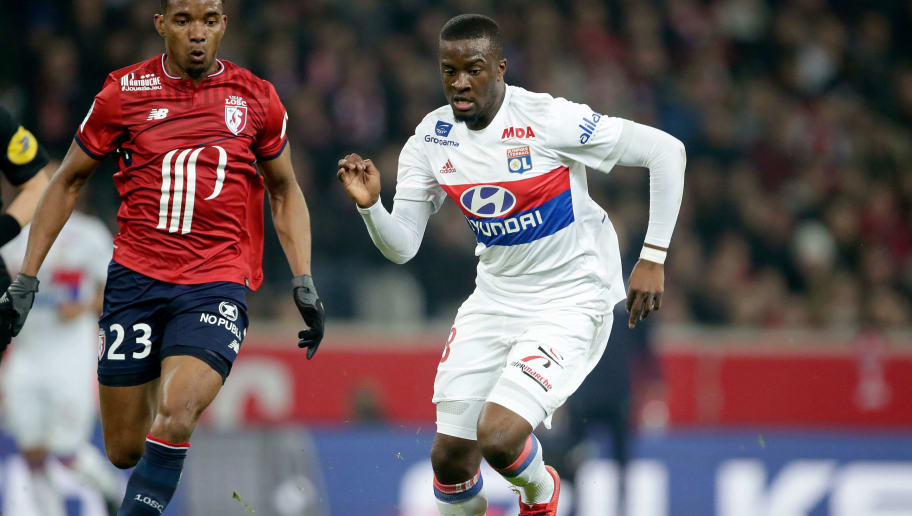 LILLE, FRANCE - FEBRUARY 18: (L-R) Thiago Mendes Ribeiro of Lille, Tanguy Ndombele Alvaro of Olympique Lyon  during the French League 1  match between Lille v Olympique Lyon at the Stade Pierre Mauroy on February 18, 2018 in Lille France (Photo by Eric Verhoeven/Soccrates/Getty Images)