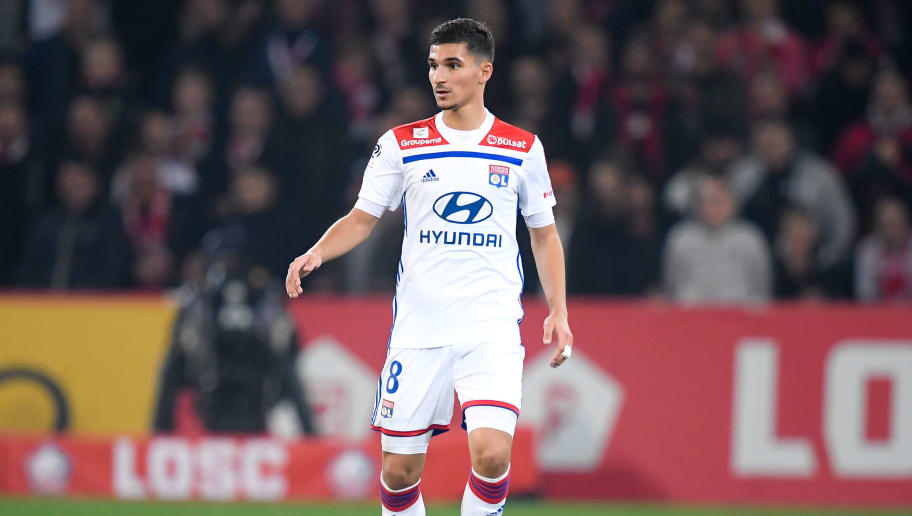 LILLE, FRANCE - DECEMBER 1: Houssem Aouar of Olympique Lyon  during the French League 1  match between Lille v Olympique Lyon at the Stade Pierre Mauroy on December 1, 2018 in Lille France (Photo by Angelo Blankespoor/Soccrates/Getty Images)