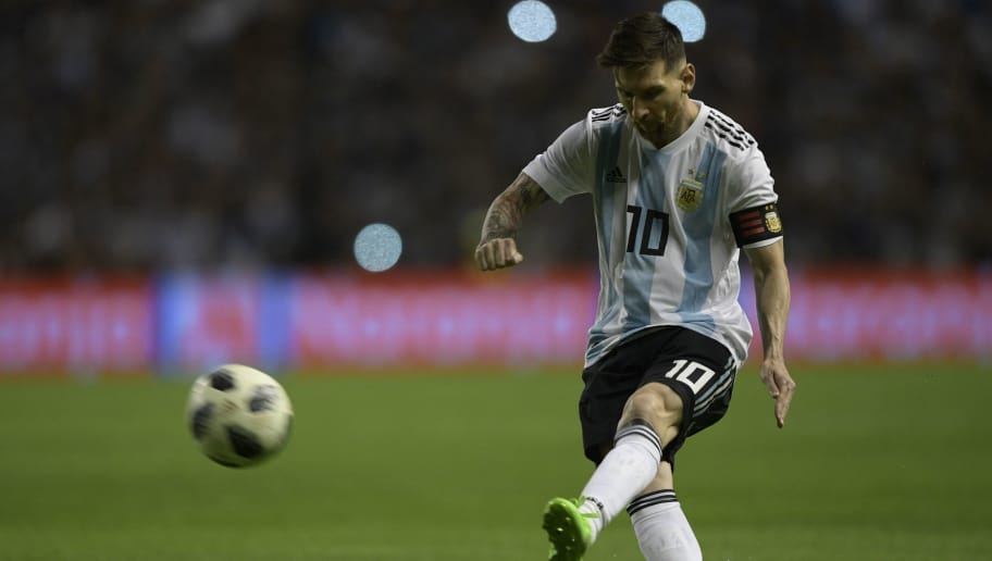 Argentina's forward Lionel Messi is pictured during the international friendly football match against Haiti at Boca Juniors' stadium La Bombonera in Buenos Aires, on May 29, 2018. (Photo by JUAN MABROMATA / AFP)        (Photo credit should read JUAN MABROMATA/AFP/Getty Images)