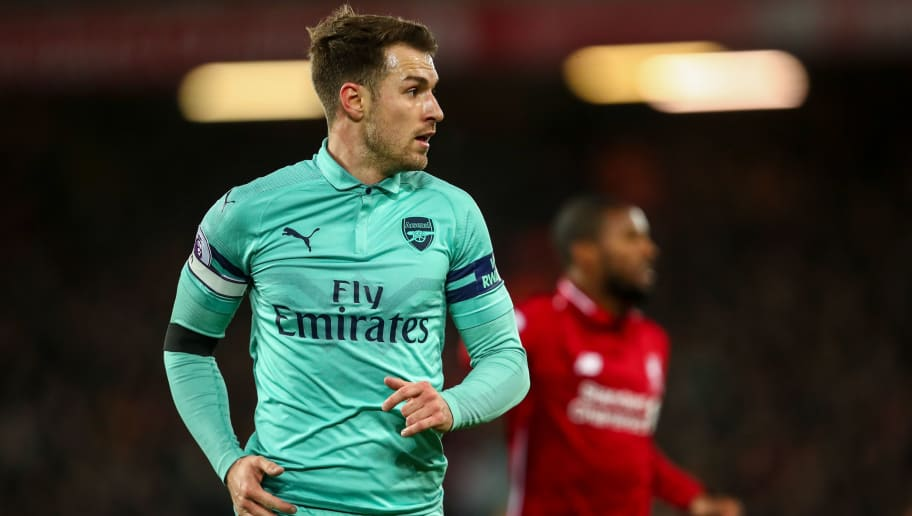 LIVERPOOL, ENGLAND - DECEMBER 29:  Aaron Ramsey of Arsenal during the Premier League match between Liverpool FC and Arsenal FC at Anfield on December 29, 2018 in Liverpool, United Kingdom. (Photo by Robbie Jay Barratt - AMA/Getty Images)