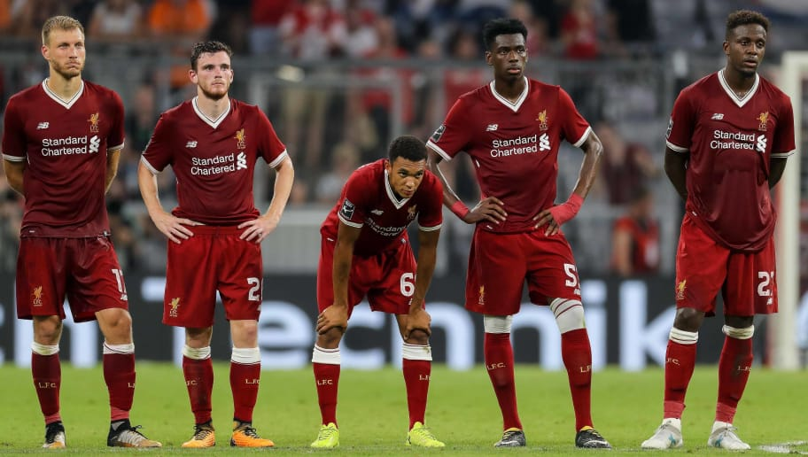 MUNICH, GERMANY - AUGUST 02: Ragnar Klavan of Liverpool, Andy Robertson of Liverpool, Trent Alexander-Arnold of Liverpool, Goalkeeper Danny Ward of Liverpool and Divock Origi of Liverpool looks on during the Audi Cup 2017 match between Liverpool FC and Atletico Madrid at Allianz Arena on August 2, 2017 in Munich, Germany. (Photo by TF-Images/TF-Images via Getty Images)