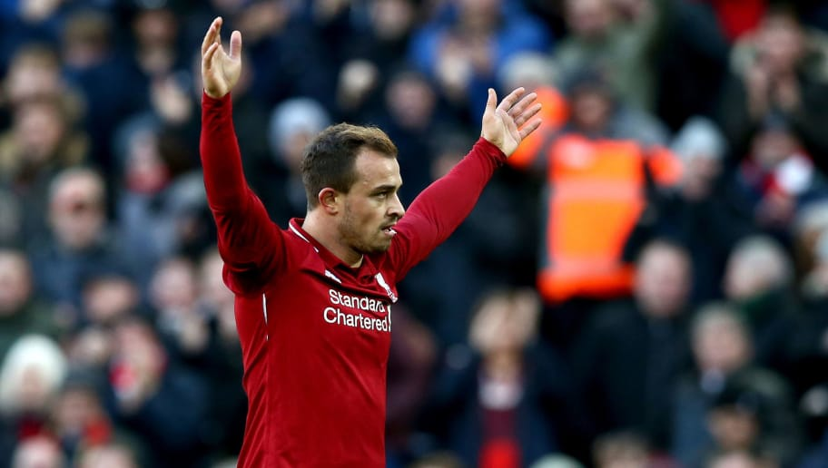 LIVERPOOL, ENGLAND - OCTOBER 27:  Xherdan Shaqiri of Liverpool celebrates after scoring his team's third goal  during the Premier League match between Liverpool FC and Cardiff City at Anfield on October 27, 2018 in Liverpool, United Kingdom.  (Photo by Jan Kruger/Getty Images)