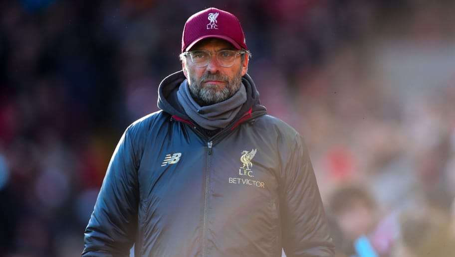LIVERPOOL, ENGLAND - OCTOBER 27: Jurgen Klopp manager / head coach of Liverpool during the Premier League match between Liverpool FC and Cardiff City at Anfield on October 27, 2018 in Liverpool, United Kingdom. (Photo by Robbie Jay Barratt - AMA/Getty Images)