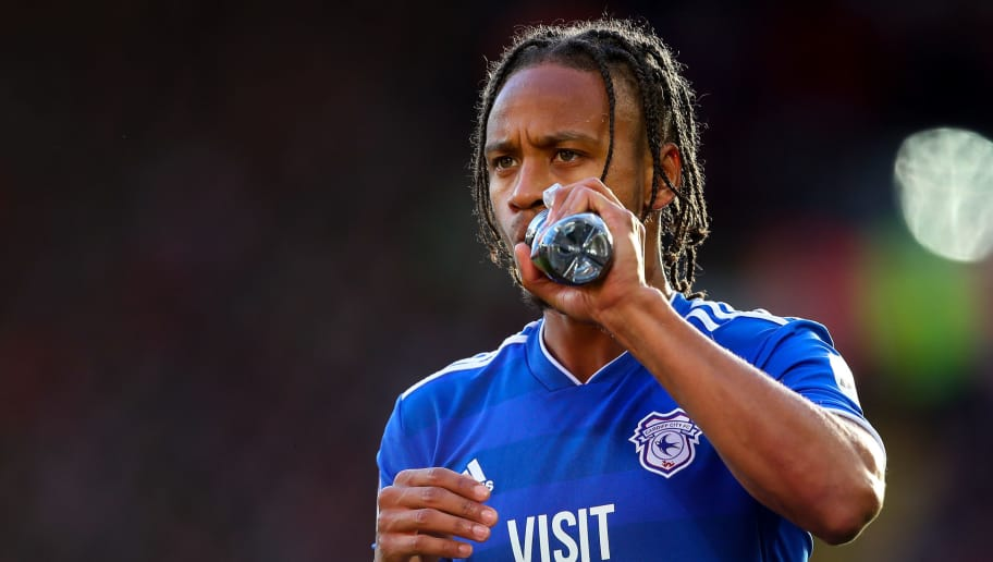 LIVERPOOL, ENGLAND - OCTOBER 27: Bobby Reid of Cardiff City during the Premier League match between Liverpool FC and Cardiff City at Anfield on October 27, 2018 in Liverpool, United Kingdom. (Photo by Robbie Jay Barratt - AMA/Getty Images)