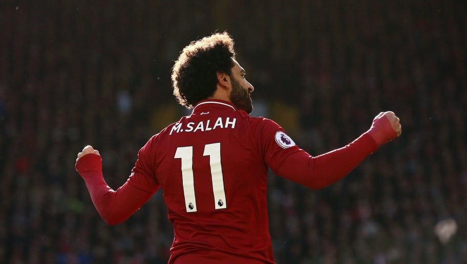 LIVERPOOL, ENGLAND - OCTOBER 27:  Mohamed Salah of Liverpool celebrates after scoring his team's first goal during the Premier League match between Liverpool FC and Cardiff City at Anfield on October 27, 2018 in Liverpool, United Kingdom.  (Photo by Jan Kruger/Getty Images)
