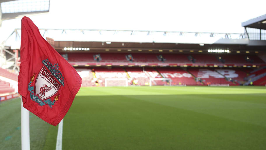 LIVERPOOL, ENGLAND - OCTOBER 27: A corner flag before the Premier League match between Liverpool FC and Cardiff City at Anfield on October 27, 2018 in Liverpool, United Kingdom. (Photo by Cardiff City FC/Getty Images)