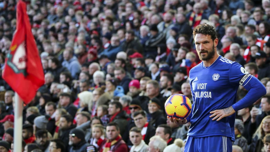 LIVERPOOL, ENGLAND - OCTOBER 27: Sean Morrison of Cardiff City during the Premier League match between Liverpool FC and Cardiff City at Anfield on October 27, 2018 in Liverpool, United Kingdom. (Photo by Cardiff City FC/Getty Images)