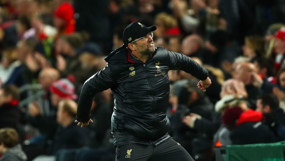 LIVERPOOL, ENGLAND - DECEMBER 02: Jurgen Klopp the manager / head coach of Liverpool reacts during the Premier League match between Liverpool FC and Everton FC at Anfield on December 2, 2018 in Liverpool, United Kingdom. (Photo by Robbie Jay Barratt - AMA/Getty Images)