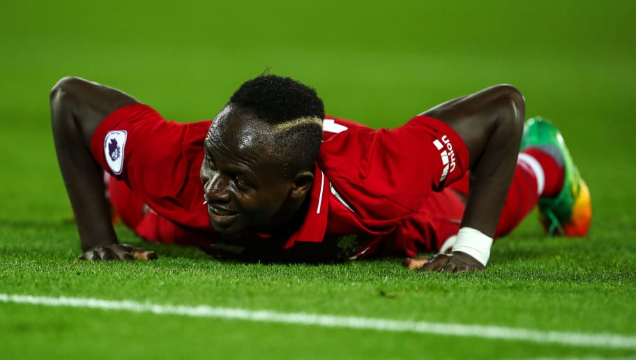 LIVERPOOL, ENGLAND - DECEMBER 02: Sadio Mane of Liverpool reacts during the Premier League match between Liverpool FC and Everton FC at Anfield on December 2, 2018 in Liverpool, United Kingdom. (Photo by Robbie Jay Barratt - AMA/Getty Images)