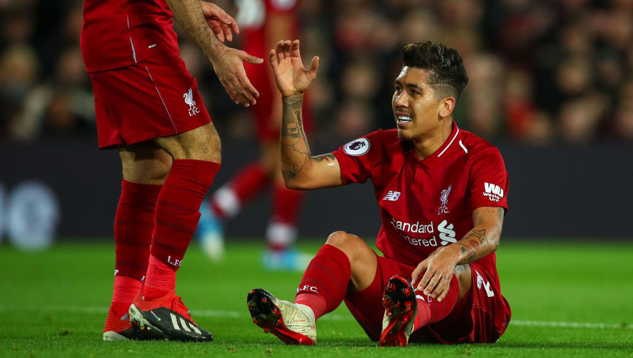LIVERPOOL, ENGLAND - DECEMBER 02: Roberto Firmino of Liverpool during the Premier League match between Liverpool FC and Everton FC at Anfield on December 2, 2018 in Liverpool, United Kingdom. (Photo by Robbie Jay Barratt - AMA/Getty Images)
