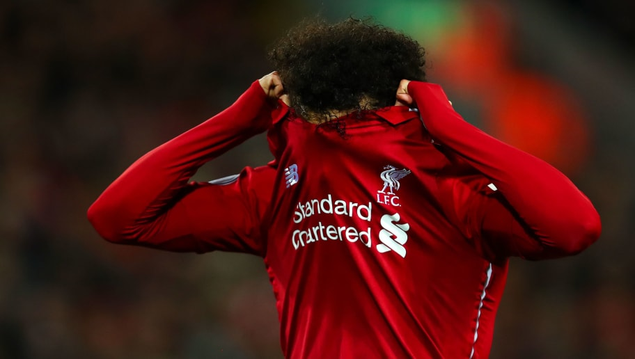 LIVERPOOL, ENGLAND - DECEMBER 02: Mohamed Salah of Liverpool during the Premier League match between Liverpool FC and Everton FC at Anfield on December 2, 2018 in Liverpool, United Kingdom. (Photo by Robbie Jay Barratt - AMA/Getty Images)