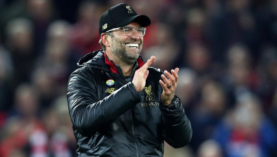 LIVERPOOL, ENGLAND - DECEMBER 02:  Jurgen Klopp, Manager of Liverpool celebrates after the Premier League match between Liverpool FC and Everton FC at Anfield on December 2, 2018 in Liverpool, United Kingdom.  (Photo by Clive Brunskill/Getty Images)