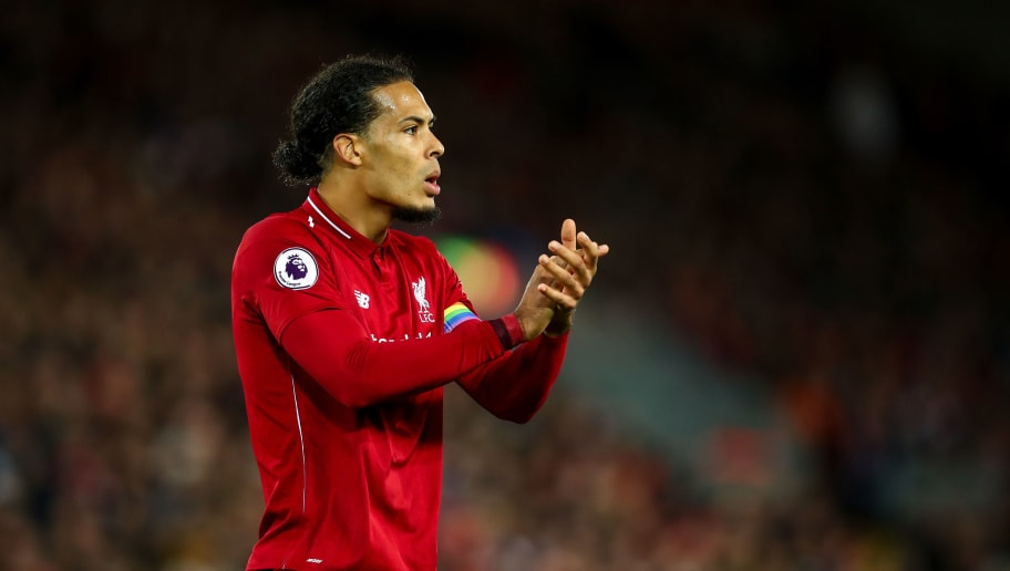 LIVERPOOL, ENGLAND - DECEMBER 02: Virgil van Dijk of Liverpool encourages during the Premier League match between Liverpool FC and Everton FC at Anfield on December 2, 2018 in Liverpool, United Kingdom. (Photo by Robbie Jay Barratt - AMA/Getty Images)