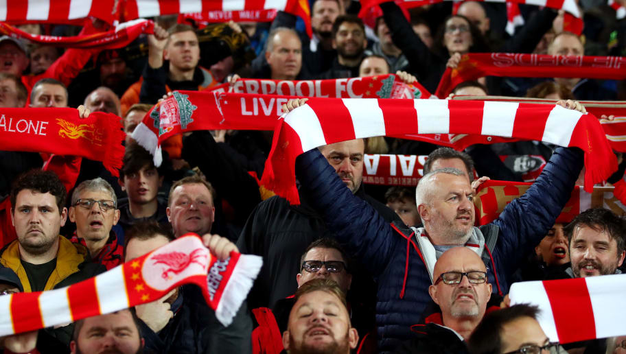 LIVERPOOL, ENGLAND - DECEMBER 02:  Liverpool fans show their support prior to the Premier League match between Liverpool FC and Everton FC at Anfield on December 2, 2018 in Liverpool, United Kingdom.  (Photo by Clive Brunskill/Getty Images)