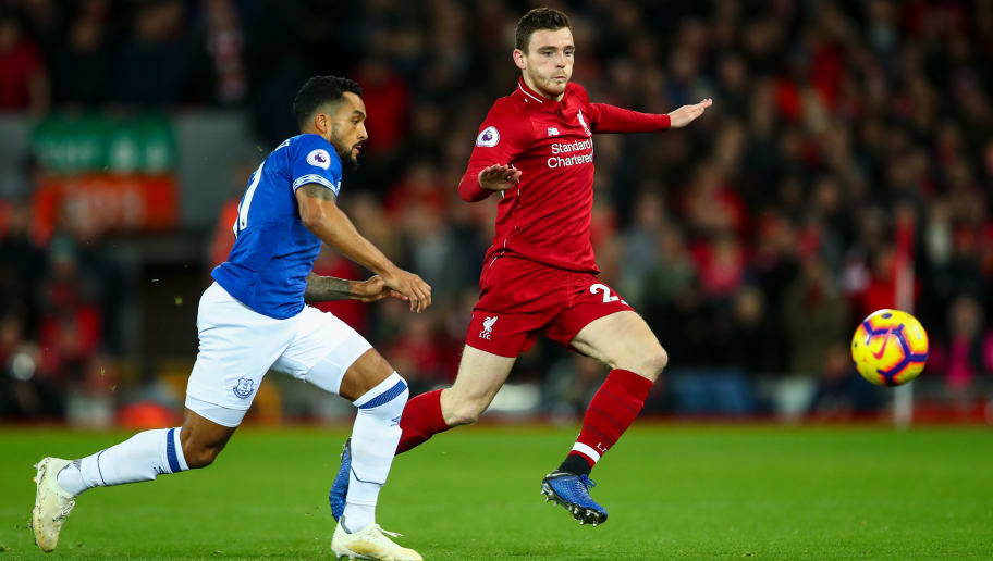 LIVERPOOL, ENGLAND - DECEMBER 02: Theo Walcott of Everton and Andrew Robertson of Liverpool during the Premier League match between Liverpool FC and Everton FC at Anfield on December 2, 2018 in Liverpool, United Kingdom. (Photo by Robbie Jay Barratt - AMA/Getty Images)