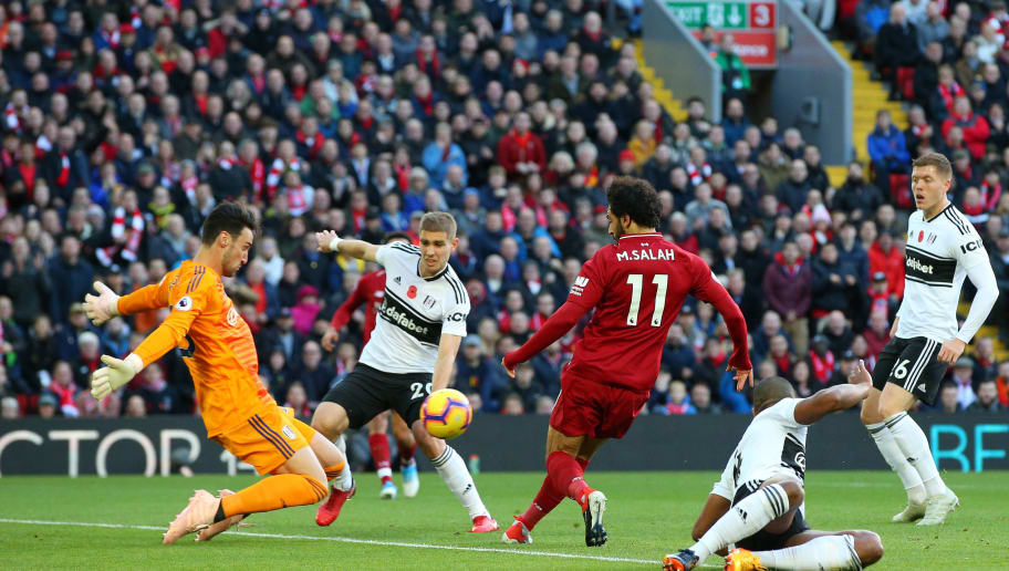 LIVERPOOL, ENGLAND - NOVEMBER 11: Sergio Rico of Fulham makes a save from Mohamed Salah of Liverpool during the Premier League match between Liverpool FC and Fulham FC at Anfield on November 11, 2018 in Liverpool, United Kingdom.  (Photo by Alex Livesey/Getty Images)