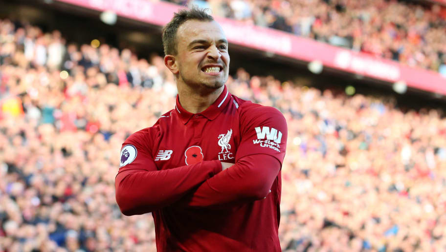 LIVERPOOL, ENGLAND - NOVEMBER 11:  Xherdan Shaqiri of Liverpool celebrates after scoring his team's second goal during the Premier League match between Liverpool FC and Fulham FC at Anfield on November 11, 2018 in Liverpool, United Kingdom.  (Photo by Alex Livesey/Getty Images)