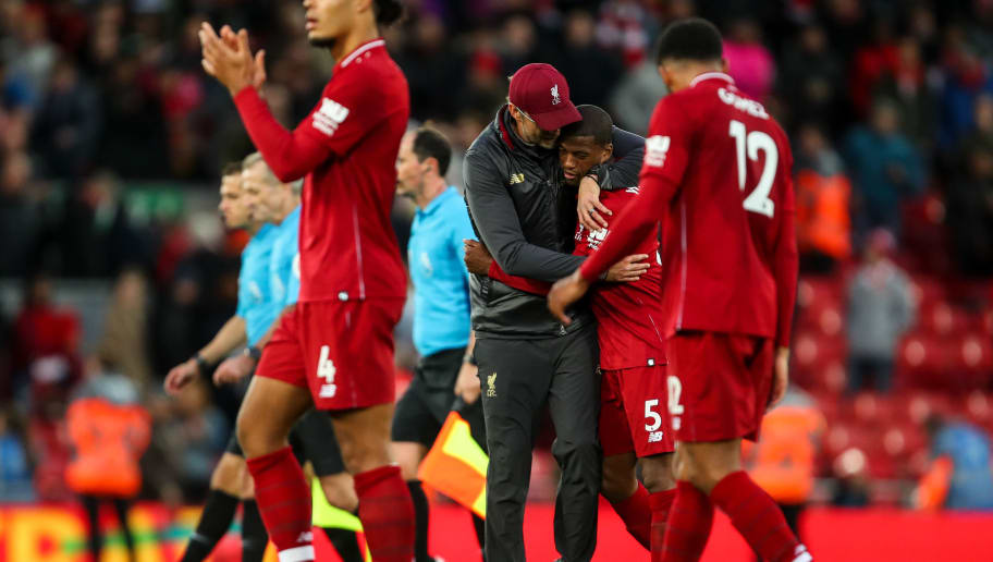 LIVERPOOL, ENGLAND - OCTOBER 07: Jurgen Klopp manager / head coach of Liverpool and Georginio Wijnaldum of Liverpool at full time during the Premier League match between Liverpool FC and Manchester City at Anfield on October 7, 2018 in Liverpool, United Kingdom. (Photo by Robbie Jay Barratt - AMA/Getty Images)