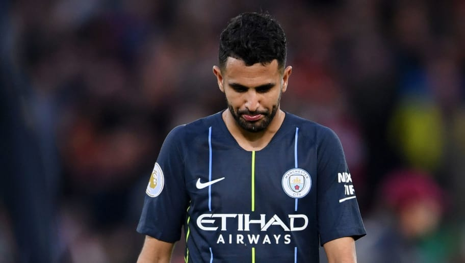 LIVERPOOL, ENGLAND - OCTOBER 07:  Riyad Mahrez of Manchester City looks dejected after the Premier League match between Liverpool FC and Manchester City at Anfield on October 7, 2018 in Liverpool, United Kingdom.  (Photo by Laurence Griffiths/Getty Images)