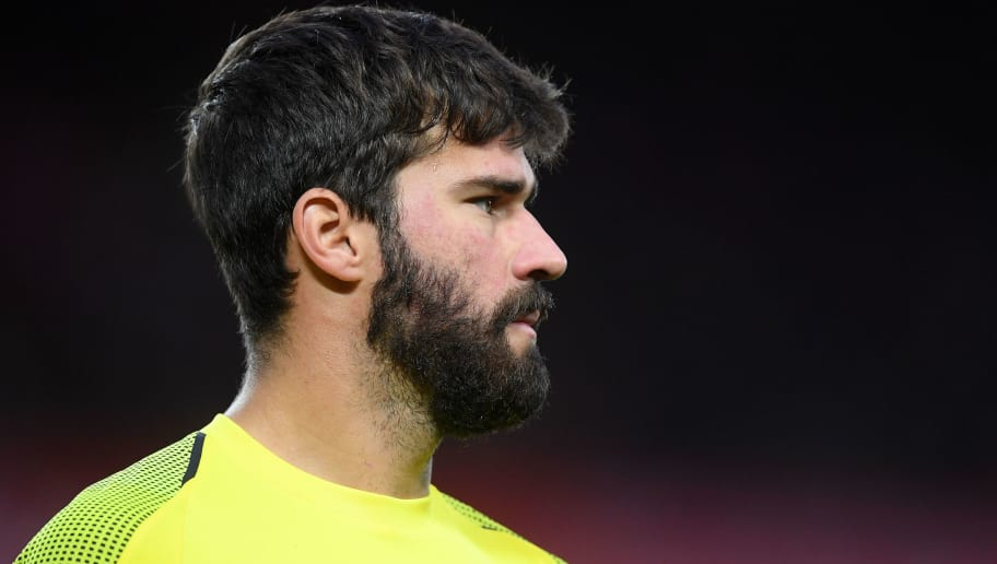 LIVERPOOL, ENGLAND - OCTOBER 07: Alisson Becker of Liverpool looks on during the Premier League match between Liverpool FC and Manchester City at Anfield on October 07, 2018 in Liverpool, United Kingdom. (Photo by Laurence Griffiths/Getty Images)