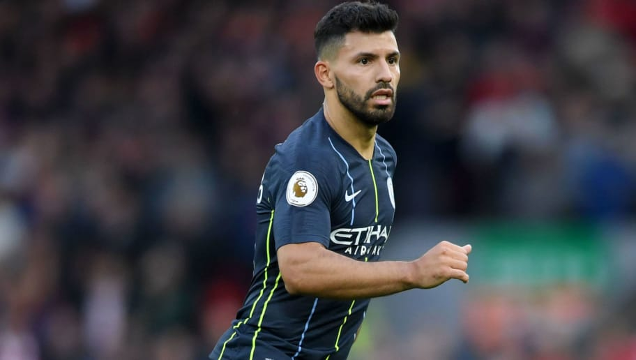 LIVERPOOL, ENGLAND - OCTOBER 07: Sergio Aguero of Manchester City runs off the ball the ball during the Premier League match between Liverpool FC and Manchester City at Anfield on October 07, 2018 in Liverpool, United Kingdom. (Photo by Laurence Griffiths/Getty Images)