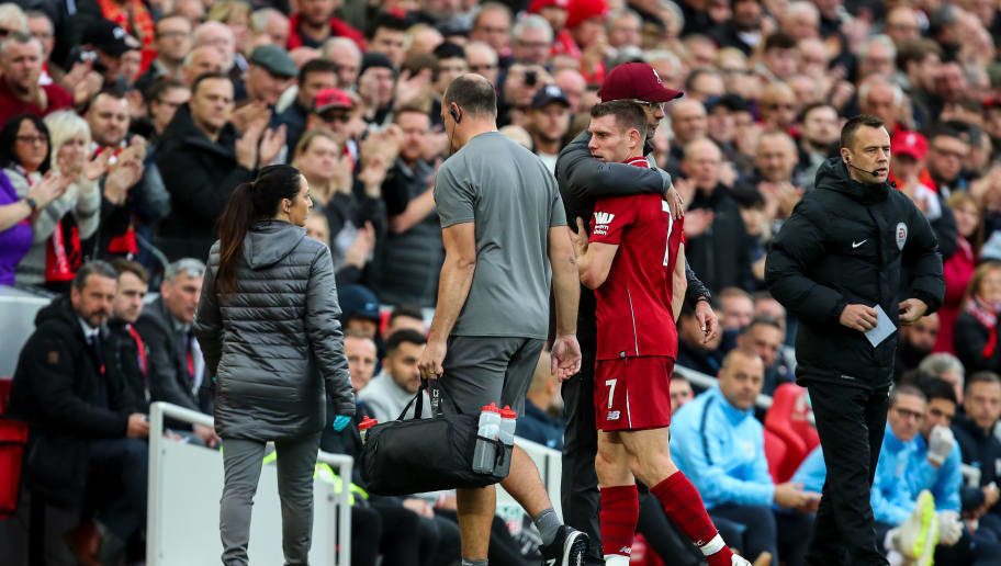 LIVERPOOL, ENGLAND - OCTOBER 07: James Milner of Liverpool goes off injured during the Premier League match between Liverpool FC and Manchester City at Anfield on October 7, 2018 in Liverpool, United Kingdom. (Photo by Robbie Jay Barratt - AMA/Getty Images)
