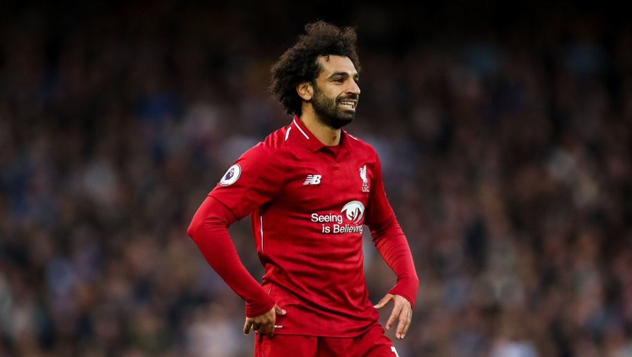 LIVERPOOL, ENGLAND - OCTOBER 07: Mohamed Salah of Liverpool reacts during the Premier League match between Liverpool FC and Manchester City at Anfield on October 7, 2018 in Liverpool, United Kingdom. (Photo by Robbie Jay Barratt - AMA/Getty Images)