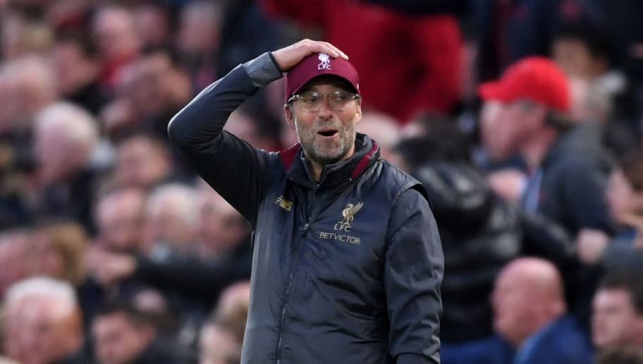 LIVERPOOL, ENGLAND - OCTOBER 07:  Jurgen Klopp, Manager of Liverpool reacts during the Premier League match between Liverpool FC and Manchester City at Anfield on October 7, 2018 in Liverpool, United Kingdom.  (Photo by Laurence Griffiths/Getty Images)