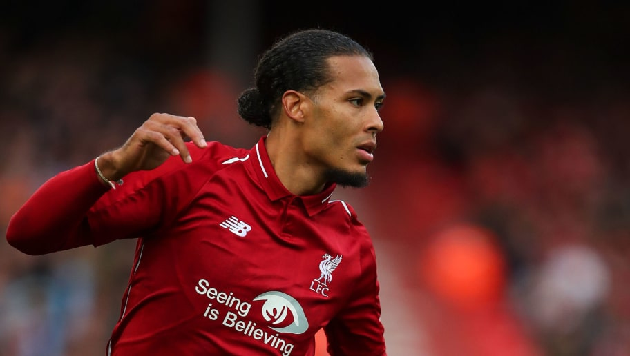 LIVERPOOL, ENGLAND - OCTOBER 07: Virgil van Dijk of Liverpool during the Premier League match between Liverpool FC and Manchester City at Anfield on October 7, 2018 in Liverpool, United Kingdom. (Photo by Robbie Jay Barratt - AMA/Getty Images)