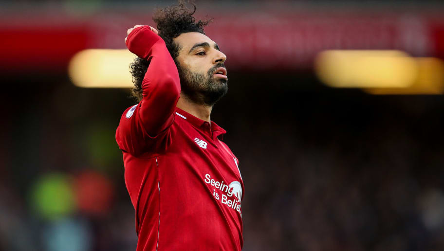 LIVERPOOL, ENGLAND - OCTOBER 07: Mohamed Salah of Liverpool during the Premier League match between Liverpool FC and Manchester City at Anfield on October 7, 2018 in Liverpool, United Kingdom. (Photo by Robbie Jay Barratt - AMA/Getty Images)