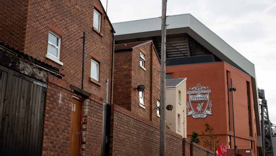 LIVERPOOL, ENGLAND - OCTOBER 07: A general external view of Anfield, the home stadium of Liverpool over looking the local houses prior to the Premier League match between Liverpool FC and Manchester City at Anfield on October 7, 2018 in Liverpool, United Kingdom. (Photo by Robbie Jay Barratt - AMA/Getty Images)