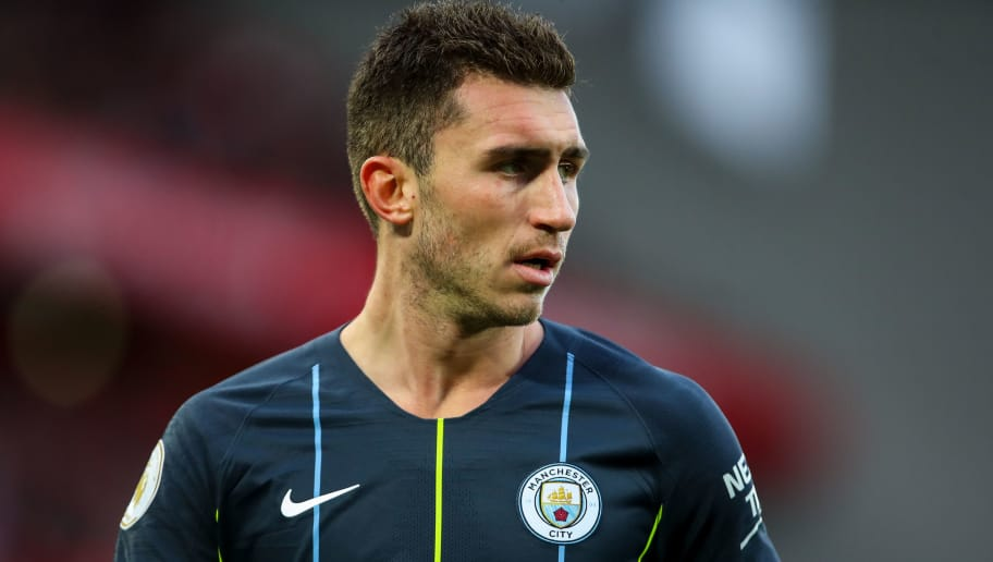 LIVERPOOL, ENGLAND - OCTOBER 07: Aymeric Laporte of Manchester City during the Premier League match between Liverpool FC and Manchester City at Anfield on October 7, 2018 in Liverpool, United Kingdom. (Photo by Robbie Jay Barratt - AMA/Getty Images)