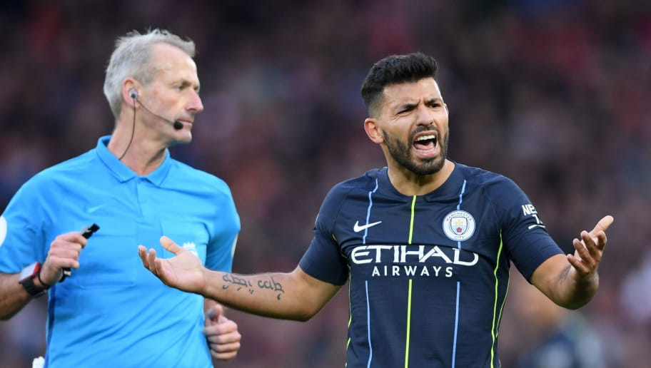 LIVERPOOL, ENGLAND - OCTOBER 07:  Sergio Aguero of Manchester City reacts to a decision by match referee Martin Atkinson during the Premier League match between Liverpool FC and Manchester City at Anfield on October 7, 2018 in Liverpool, United Kingdom.  (Photo by Laurence Griffiths/Getty Images)