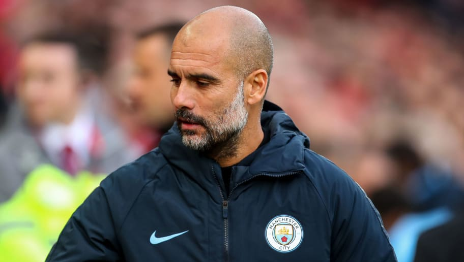 LIVERPOOL, ENGLAND - OCTOBER 07: Pep Guardiola the head coach / manager of Manchester City  during the Premier League match between Liverpool FC and Manchester City at Anfield on October 7, 2018 in Liverpool, United Kingdom. (Photo by Robbie Jay Barratt - AMA/Getty Images)