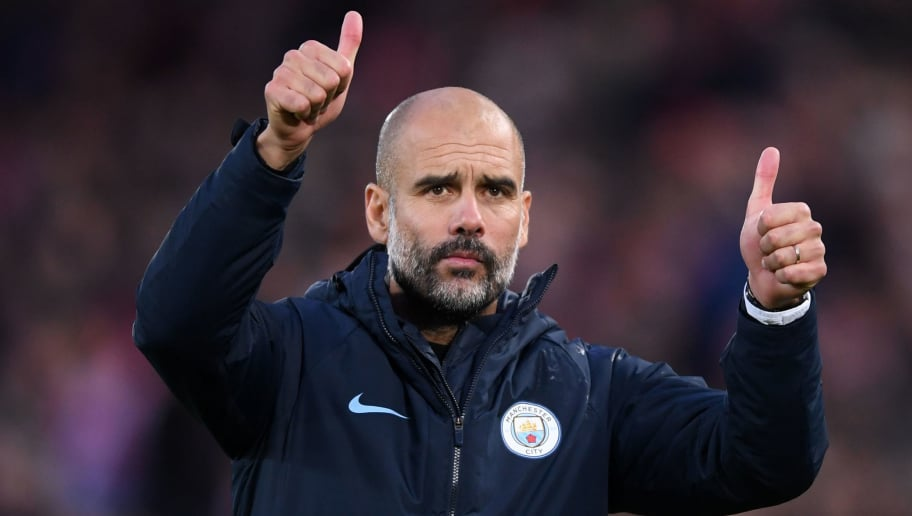 LIVERPOOL, ENGLAND - OCTOBER 07:  Josep Guardiola, Manager of Manchester City acknowledges the fans after the Premier League match between Liverpool FC and Manchester City at Anfield on October 7, 2018 in Liverpool, United Kingdom.  (Photo by Laurence Griffiths/Getty Images)