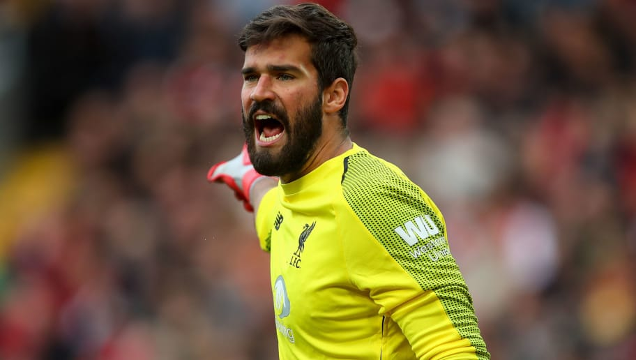 LIVERPOOL, ENGLAND - OCTOBER 07: Alisson Becker of Liverpool during the Premier League match between Liverpool FC and Manchester City at Anfield on October 7, 2018 in Liverpool, United Kingdom. (Photo by Robbie Jay Barratt - AMA/Getty Images)