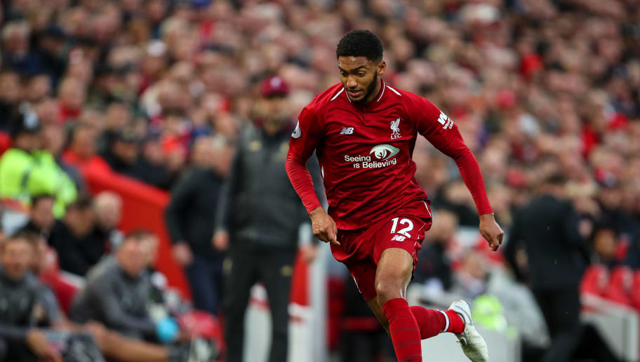 LIVERPOOL, ENGLAND - OCTOBER 07: Joe Gomez of Liverpool during the Premier League match between Liverpool FC and Manchester City at Anfield on October 7, 2018 in Liverpool, United Kingdom. (Photo by Robbie Jay Barratt - AMA/Getty Images)