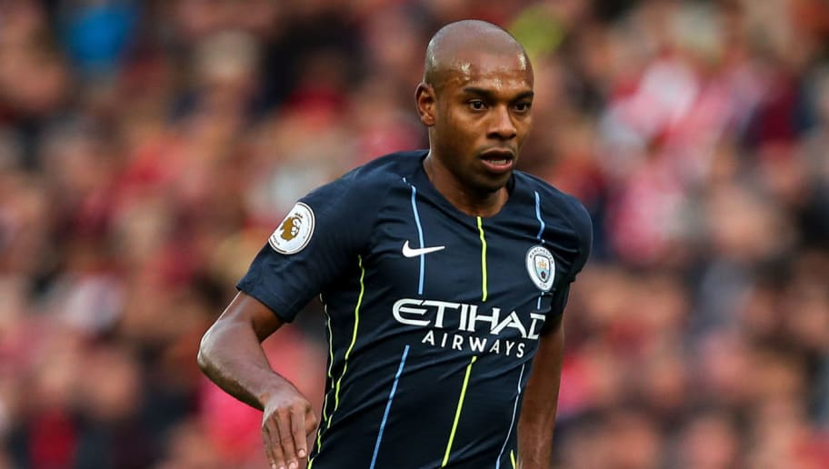 LIVERPOOL, ENGLAND - OCTOBER 07: Fernandinho of Manchester City during the Premier League match between Liverpool FC and Manchester City at Anfield on October 7, 2018 in Liverpool, United Kingdom. (Photo by Robbie Jay Barratt - AMA/Getty Images)