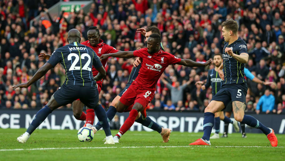 LIVERPOOL, ENGLAND - OCTOBER 07: Naby Keita of Liverpool during the Premier League match between Liverpool FC and Manchester City at Anfield on October 7, 2018 in Liverpool, United Kingdom. (Photo by Robbie Jay Barratt - AMA/Getty Images)