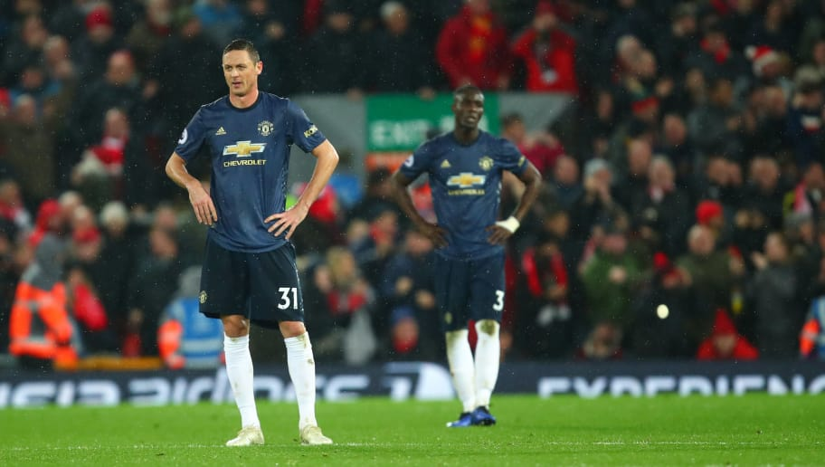 LIVERPOOL, ENGLAND - DECEMBER 16: A dejected  Nemanja Matic of Manchester United after Liverpool scored to make it 3-1 during the Premier League match between Liverpool FC and Manchester United at Anfield on December 16, 2018 in Liverpool, United Kingdom. (Photo by Robbie Jay Barratt - AMA/Getty Images)
