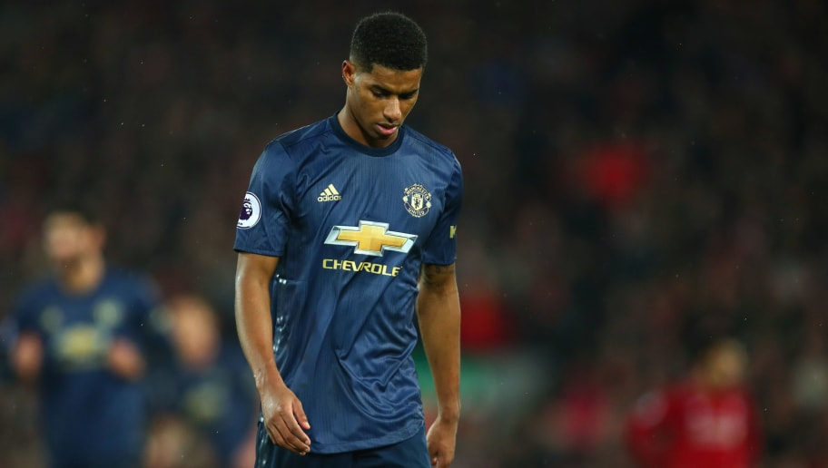 LIVERPOOL, ENGLAND - DECEMBER 16: A dejected  Marcus Rashford of Manchester United after Liverpool scored to make it 3-1 during the Premier League match between Liverpool FC and Manchester United at Anfield on December 16, 2018 in Liverpool, United Kingdom. (Photo by Robbie Jay Barratt - AMA/Getty Images)