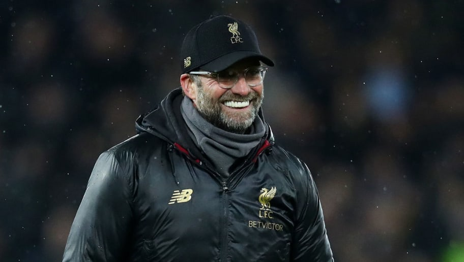 LIVERPOOL, ENGLAND - DECEMBER 16:  Jurgen Klopp, Manager of Liverpool celebrates following his sides victory in the Premier League match between Liverpool FC and Manchester United at Anfield on December 16, 2018 in Liverpool, United Kingdom.  (Photo by Clive Brunskill/Getty Images)