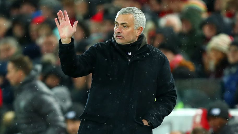 LIVERPOOL, ENGLAND - DECEMBER 16: Manchester United Manager \ Head Coach Jose Mourinho during the Premier League match between Liverpool FC and Manchester United at Anfield on December 16, 2018 in Liverpool, United Kingdom. (Photo by Robbie Jay Barratt - AMA/Getty Images)
