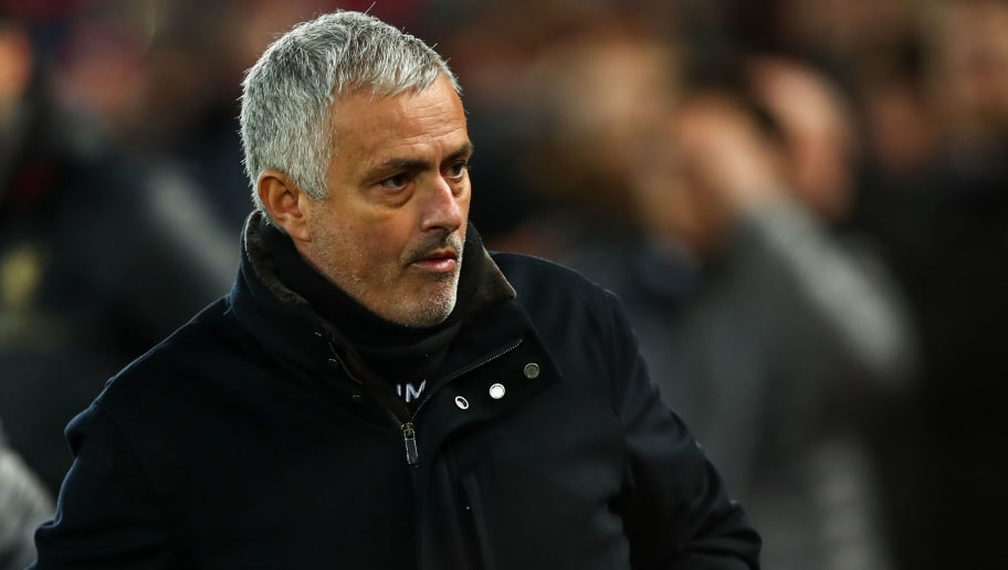 LIVERPOOL, ENGLAND - DECEMBER 16:  Jose Mourinho the head coach / manager of Manchester United during the Premier League match between Liverpool FC and Manchester United at Anfield on December 16, 2018 in Liverpool, United Kingdom. (Photo by Robbie Jay Barratt - AMA/Getty Images)