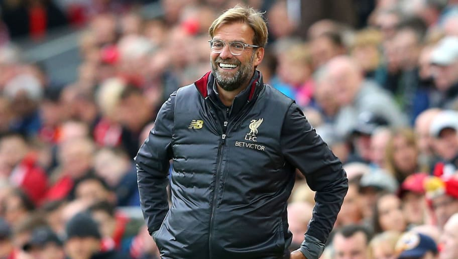 LIVERPOOL, ENGLAND - SEPTEMBER 22:  Jurgen Klopp, Manager of Liverpool reacts during the Premier League match between Liverpool FC and Southampton FC at Anfield on September 22, 2018 in Liverpool, United Kingdom.  (Photo by Alex Livesey/Getty Images)