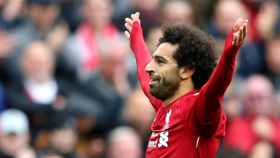 LIVERPOOL, ENGLAND - SEPTEMBER 22:  Mohamed Salah of Liverpool celebrates after scoring his team's third goal during the Premier League match between Liverpool FC and Southampton FC at Anfield on September 22, 2018 in Liverpool, United Kingdom.  (Photo by Alex Livesey/Getty Images)