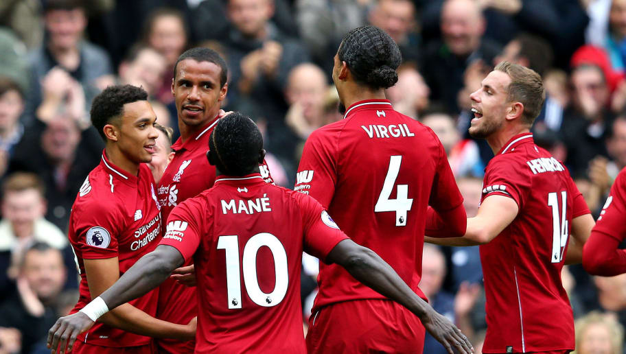 LIVERPOOL, ENGLAND - SEPTEMBER 22:  Joel Matip of Liverpool celebrates with teammates after scoring his team's second goal during the Premier League match between Liverpool FC and Southampton FC at Anfield on September 22, 2018 in Liverpool, United Kingdom.  (Photo by Alex Livesey/Getty Images)