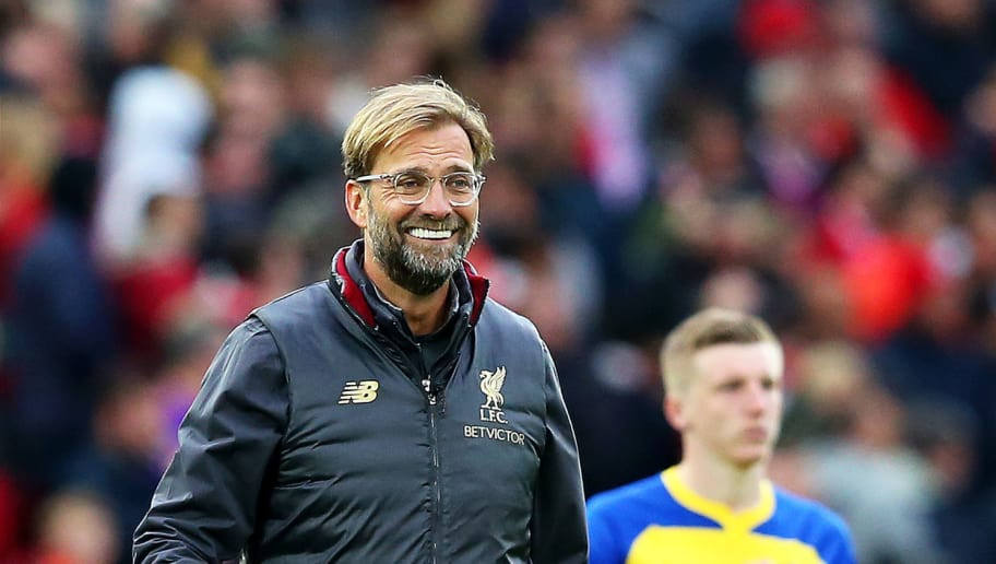 LIVERPOOL, ENGLAND - SEPTEMBER 22: Jurgen Klopp, Manager of Liverpool celebrates victory after the Premier League match between Liverpool FC and Southampton FC at Anfield on September 22, 2018 in Liverpool, United Kingdom.  (Photo by Alex Livesey/Getty Images)