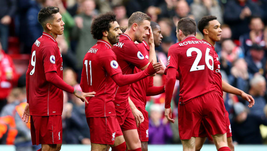 LIVERPOOL, ENGLAND - SEPTEMBER 22:  Mohamed Salah of Liverpool celebrates with teammates after scoring his team's third goal during the Premier League match between Liverpool FC and Southampton FC at Anfield on September 22, 2018 in Liverpool, United Kingdom.  (Photo by Alex Livesey/Getty Images)